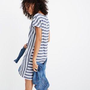 Madewell Stripe Play Button Striped Linen Dress